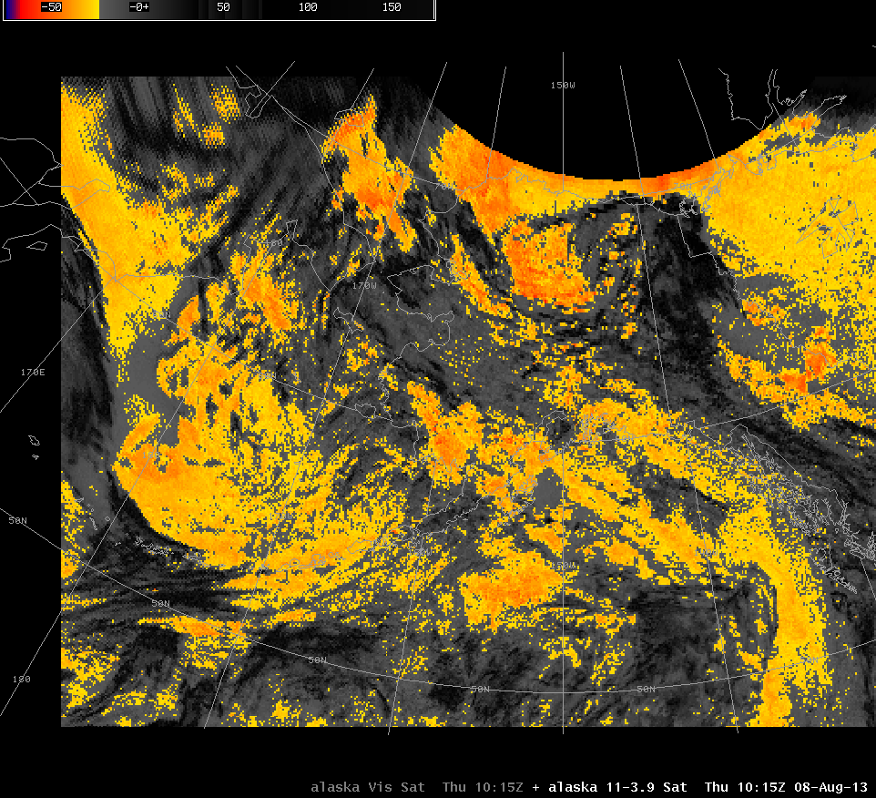 GOES-15 Brightness Temperature Difference (10.7 µm - 3.9 µm) (Click to see animation)